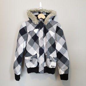 Roxy Size Medium Black And White Bomber Jacket